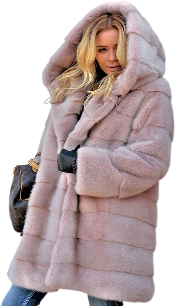 Aofur - Abrigo de invierno con capucha para mujer, de forro polar, para mujer, tallas 8 a 20