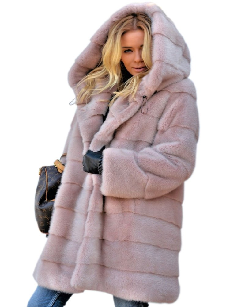 Aofur New Womens Thick Faux Fur Big Hooded Parka Long Overcat Peacoat Winter Coats Jackets (Small, Pink)
