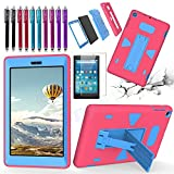 All-New Fire HD 8 2017 Tablet Case, Premium Hybrid Heavy Duty [Drop Protection] [Shockproof] [Kids Friendly] Kickstand Full Cover for Amazon Fire HD 8 (7th Generation, 2017 Release) - Pink / Blue