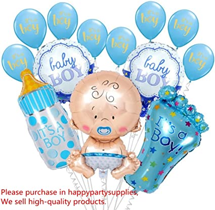 baby shower Pack de 6 6 globos l/ámina de aluminio azul boda para decoraci/ón de fiesta de cumplea/ños para ni/ños