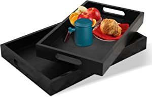 Serving Tray 2-Piece Set with Bamboo Serving Tray and Black Food Tray – Raised-Up Edges and Waterproof Finish – Heat-Insulated Wooden Tray – Modern and Elegant Wood Serving Tray 14.9 x 9.8in - Black