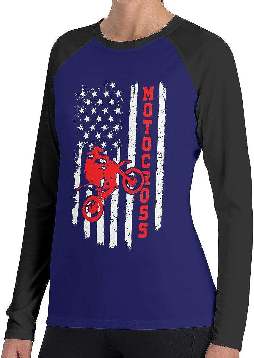 LLiYing-D BMX USA American Flag Womens Fashion Long Sleeve T Shirts