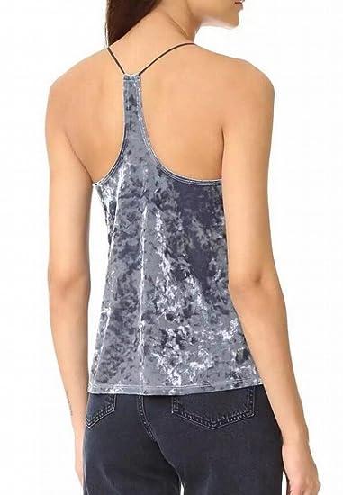 02e0e955bd642 UUYUK Women s Sexy Spaghetti Strap V Neck Velvet Club Tank Tops at Amazon  Women s Clothing store