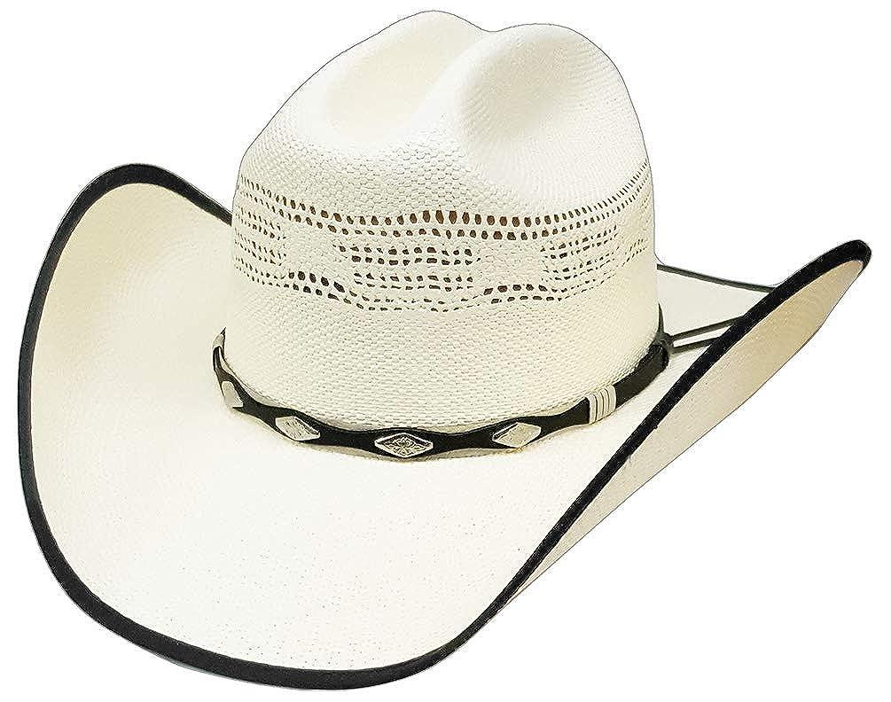 Modestone Bangora Breezer Straw Cowboy Hat Horse Hair Hatband White