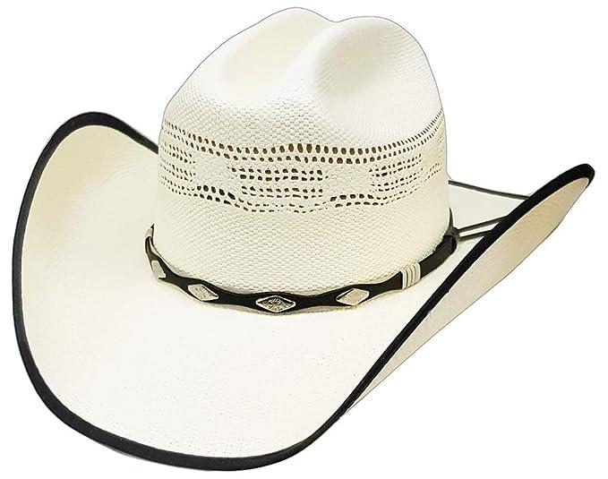 be540c324fe Modestone Straw Cowboy-Hut Bangora Studs Hatband Fabric Brim Edge Off-White