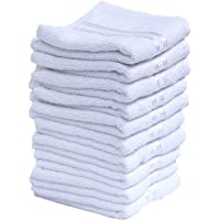 MYTHOS Love Touch Very Soft Fresh Loom 300 GSM 100% Cotton Face Hanky, Face Towel, Handkerchiefs (10X10 inch/25cmX25cm_Solid White_10 Pieces)