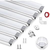 HOMMAND 6 pack x 1m / 3.3ft LED aluminium kanaal, LED strip kanaal en diffuser, LED strip afdekking met eindkappen…