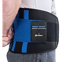 Medi-Gear Back Brace - Lumbar Support Belt for Lower Back Pain - Medical Grade Posture Corrector and Stabilizer with Dual Adjustable Straps