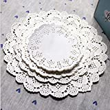 Winko 96 Count White Disposable Lace Paper Doilies Cake Placemats Crafting Coaster of Tableware Decoration, 4 Size