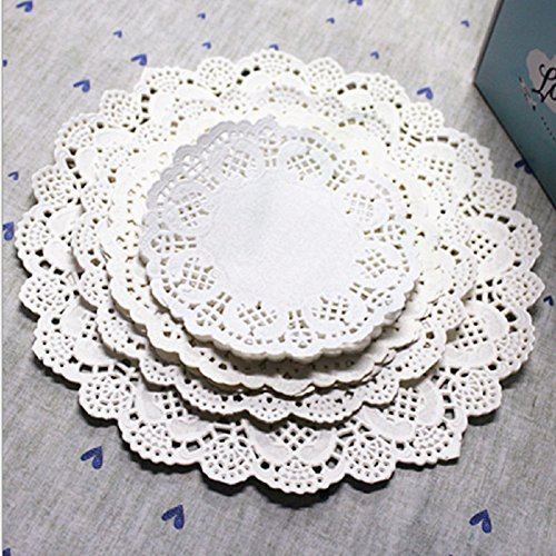 Winko 96 Count White Round Paper Lace Doilies for a Tea Party (Round White Doily)