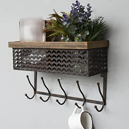Amazon.com: ZR- Vintage Industrial Style Metal Wall Shelf ...