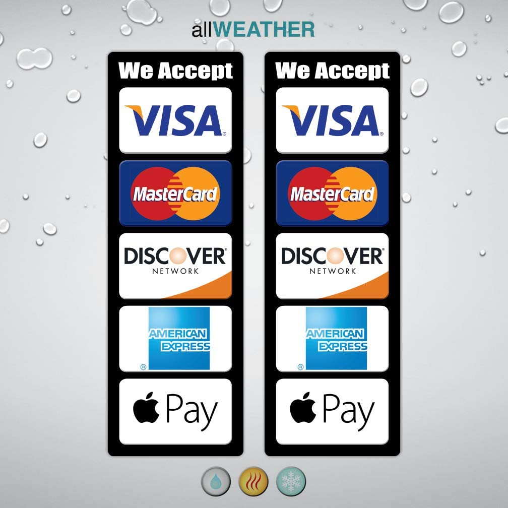 (Pack of 2 pcs) Credit Card Logo Decal Waterproof Vinyl Sticker - We Accept Visa MasterCard Discover AE Apple Pay Store Cashier Counter POS Lable