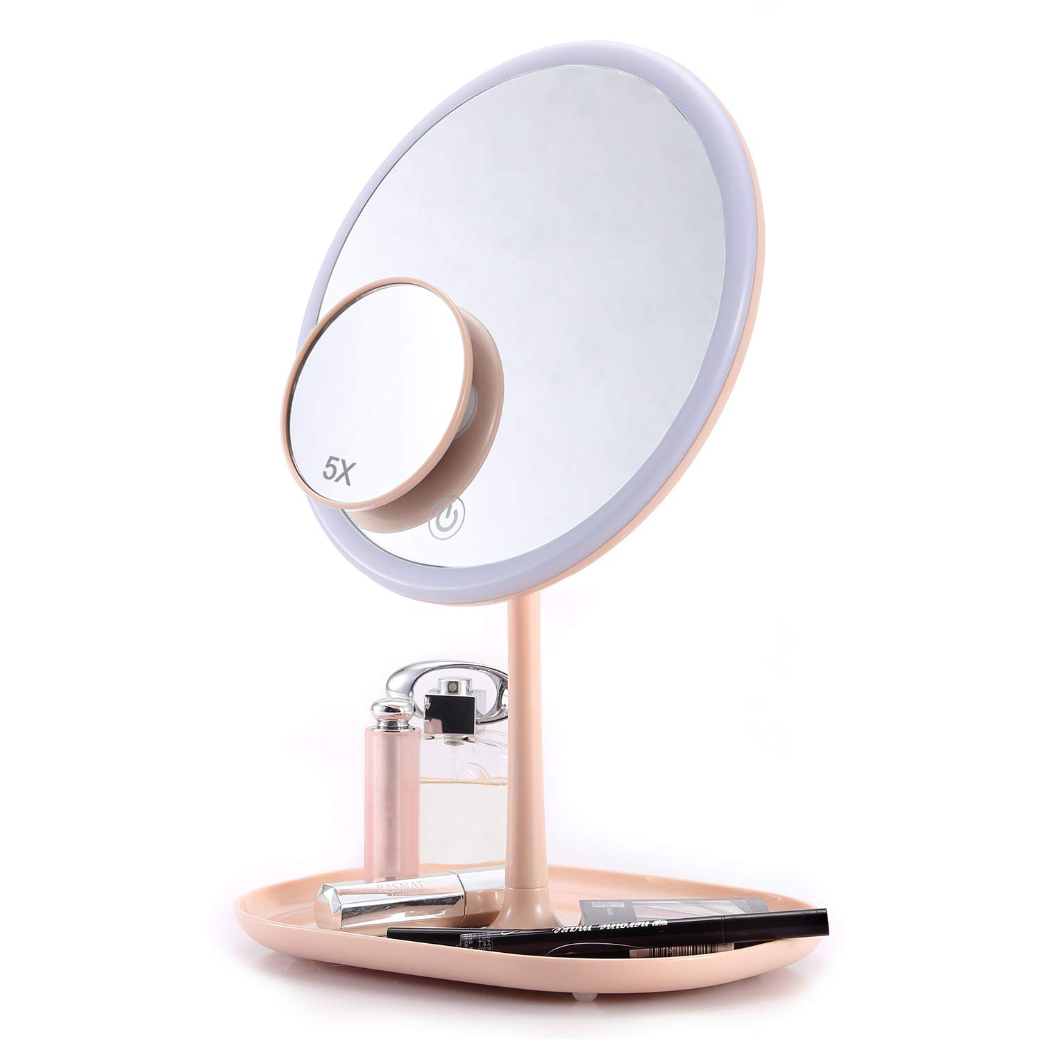 Lighted Makeup Mirror, 8 Inch LED Vanity Mirror with 5X Magnifying Spot Mirror, USB Rechargeable, Adjustable Brightness Touch Screen Storage Base Pink