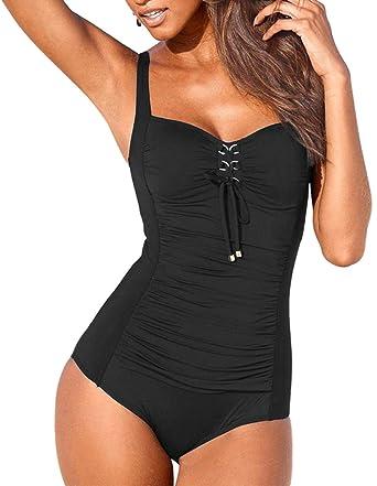 c3993ae28a Upopby Women's Vintage Lace Up One Piece Swimsuits Monikini Tummy Control  Swimwear Black 6