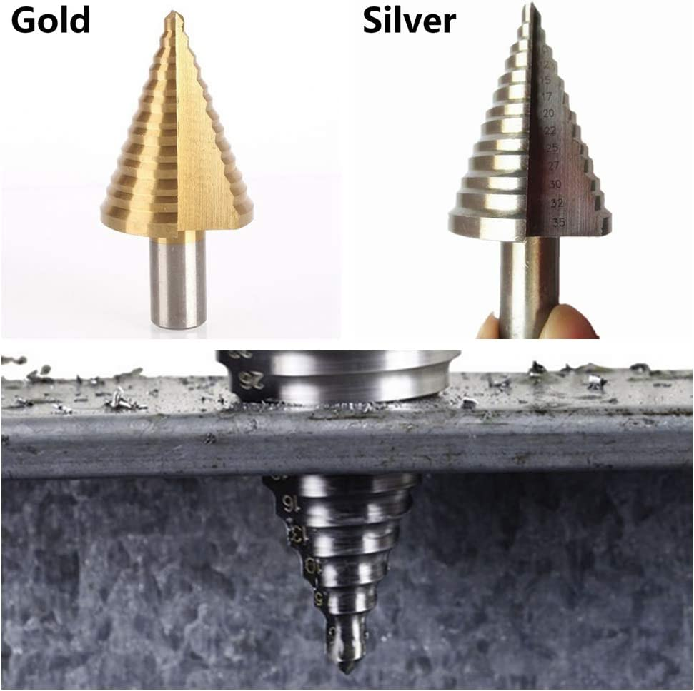 gold Unstopup Gro/ßer Stufenbohrer Kegel Stufenbohrer HSS Stahl Titan beschichtet Metall Bohrer Entgrater Holzbearbeitung Bit Lochschneider Schneidwerkzeug