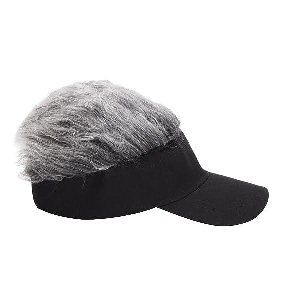 15fe3c361d1 Amazon.com  ALWLj Baseball Cap Wig Cap Women Men Fake Flair Hair Visor Sun  Hat Toupee Funny Hair Snapback Hats