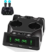 YICHUMY 4 in 1 Desk Charger Dock Quad Charging Station for PS Move Motion and PS4 Controller Playstation 4 PS4 Slim PS4…