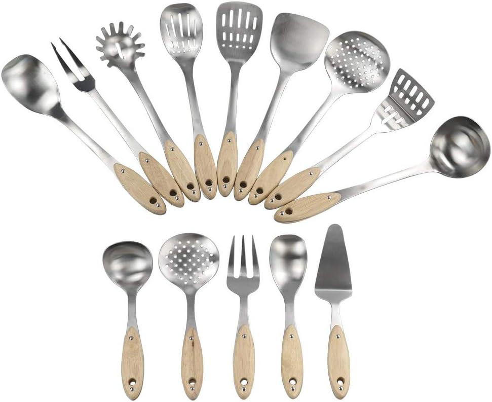 Ensemble dustensiles de Cuisine Acier Inoxydable Annkky Lot de 14 Ustensiles de Cuisine avec Manche en Bois