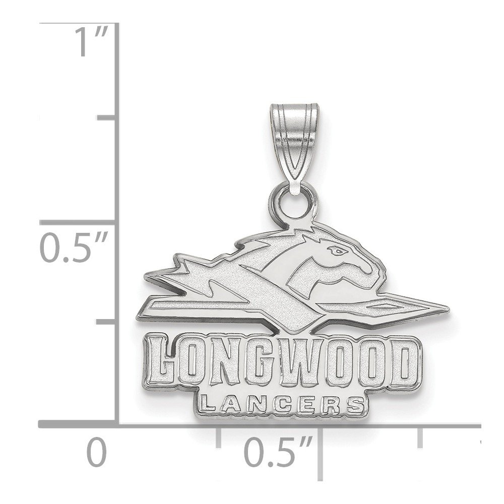 Solid 925 Sterling Silver Longwood University Small Pendant
