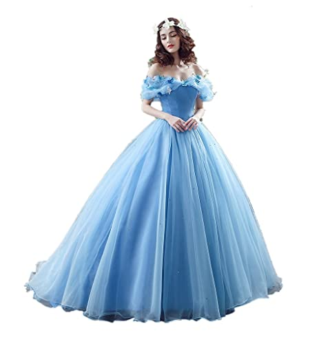 MLT Women's Off the Shoulder Blue Cinderella Prom Evening Party Dresses