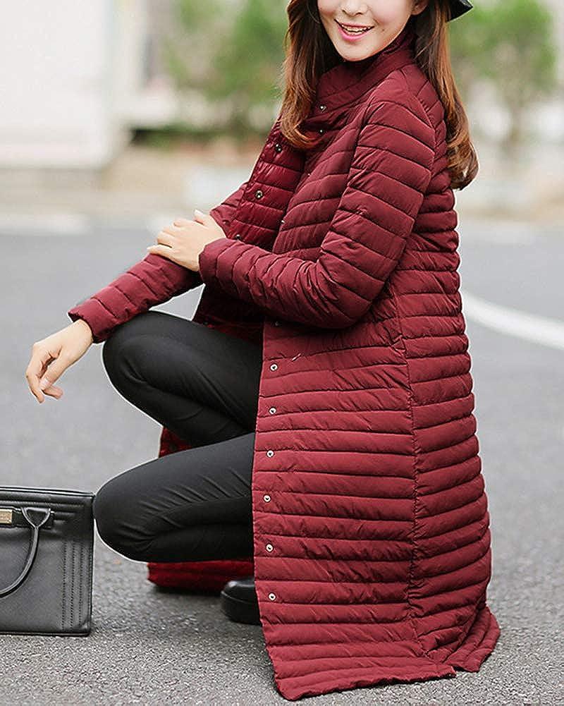 Damen Daunenjacke Lange Kapuzen Ultra Leicht Winter W/ärm Daunenmantel Quilted Steppjacke Parka Jacke