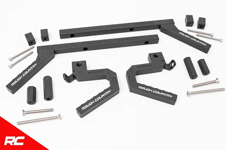Rough Country Front Aluminum Grab Handles Compatible w// 2007-2018 Jeep Wrangler JK Black 6507