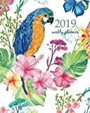 2019 Weekly Planner: Calendar Schedule Organizer Appointment Journal Notebook and Action day, parrot and exotic flowers a butterfly print fabric ... (Weekly & Monthly Planner 2019) (Volume 19)
