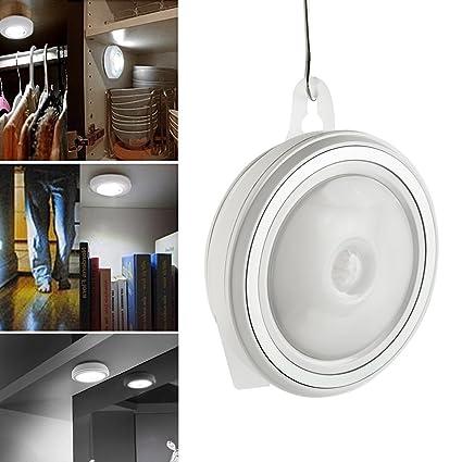 Hotbesteu Luz LED de Noche con Batería Luces LED Nocturnas de Pilas con Sensor de Movimiento