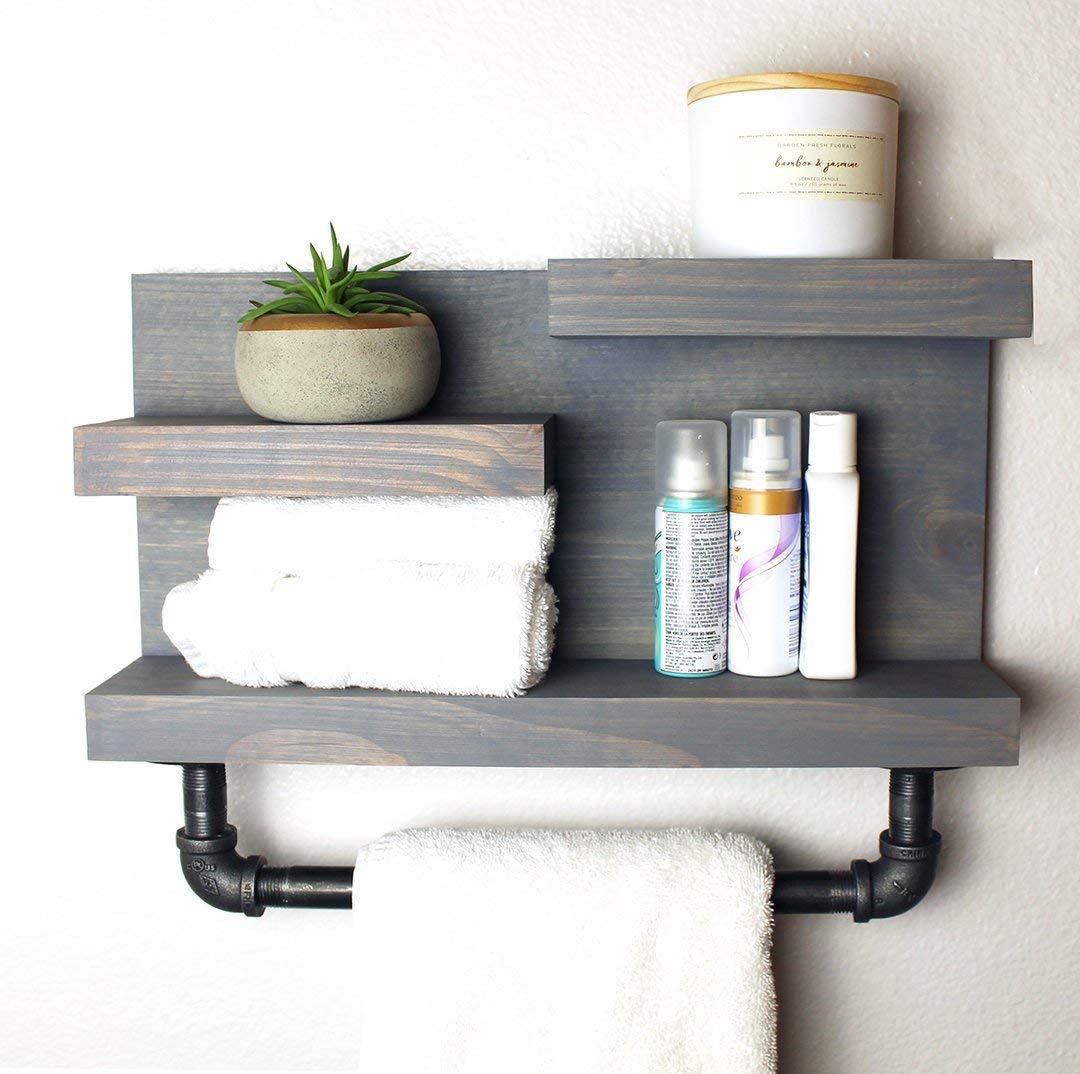 Amazon Com Bathroom Farmhouse Shelf With Pipe Towel Bar
