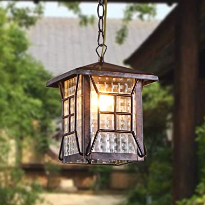 Maxax Outdoor Pendant Light - Vintage Style Hanging Lamp Fixture, Metal Porch Lantern with Hammered Clear Glass and Adjustable Chain, Bronze Finish