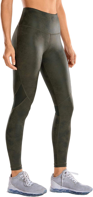 CRZ YOGA Pantalones Deportivos para Mujer Pantalones de Cuero de Imitación -63.5cm