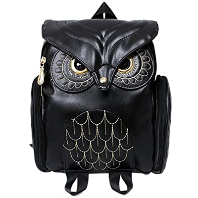 YQWEL Women Pu Leather Owl Cartoon Backpack Casual Satchel School Purse for Students (Black)