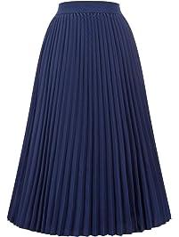 Kate Kasin Women's High Waist Pleated A-Line Swing Skirt Midi Skirt KK659