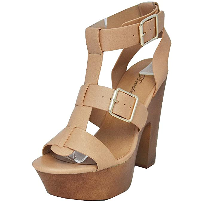 e294a33644b Amazon.com  Breckelles Women  Renee-21 Open Toe Strappy Buckle ...