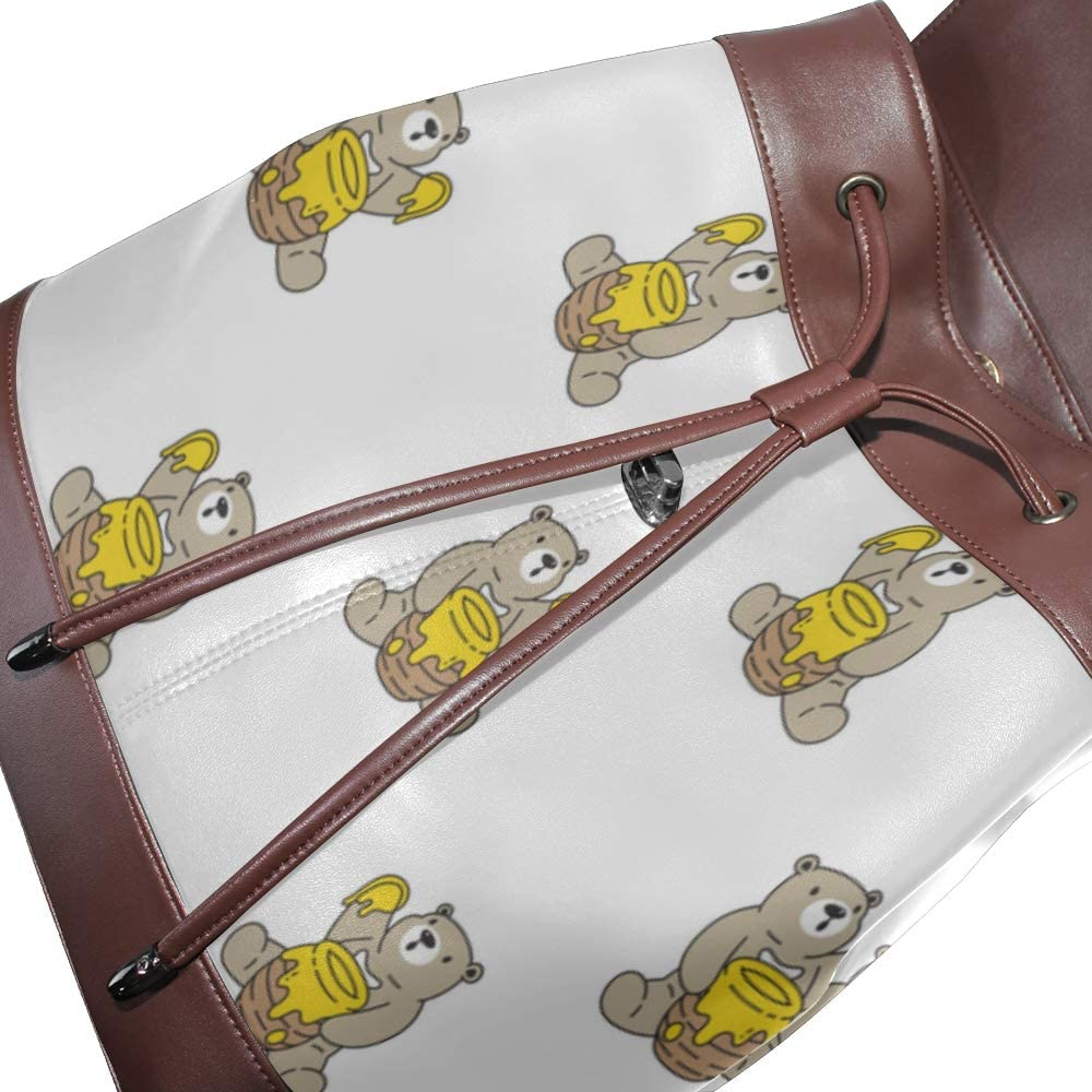 Cute Bear Eating Sweet Honey Soft Leather Backpack Pu Leather Backpack Purse Drawstring Waterproof Girls Backpacks Ladies Shoulder Bags For Women