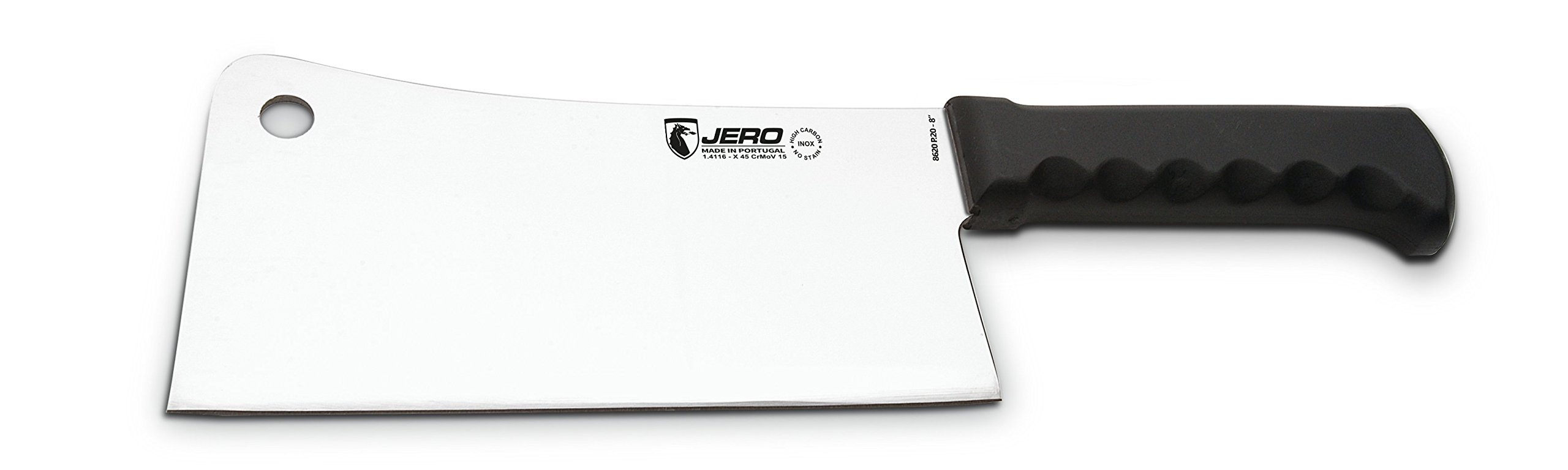 Jero Atlantic 8'' Blade Heavy-Duty Cleaver Atlantic Series German Stainless Steel with Easy Grip Poly Handle, 2 lb.