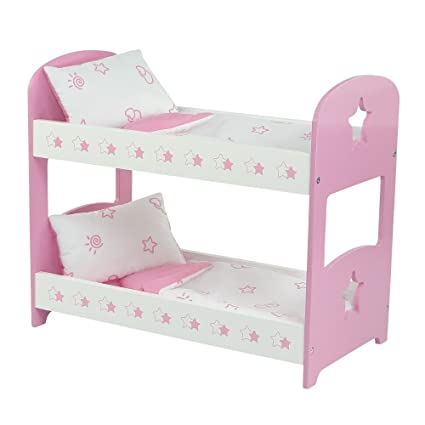 Amazon Com 18 Inch Doll Furniture Lovely Pink And White Bunk Bed