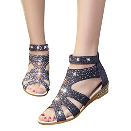 e702d0dd4bb4 Amazon.com  Fheaven Women Spring Summer Sandals Wedge Fashion Fish Mouth  Hollow Roma Flat Sandals Shoes (Black