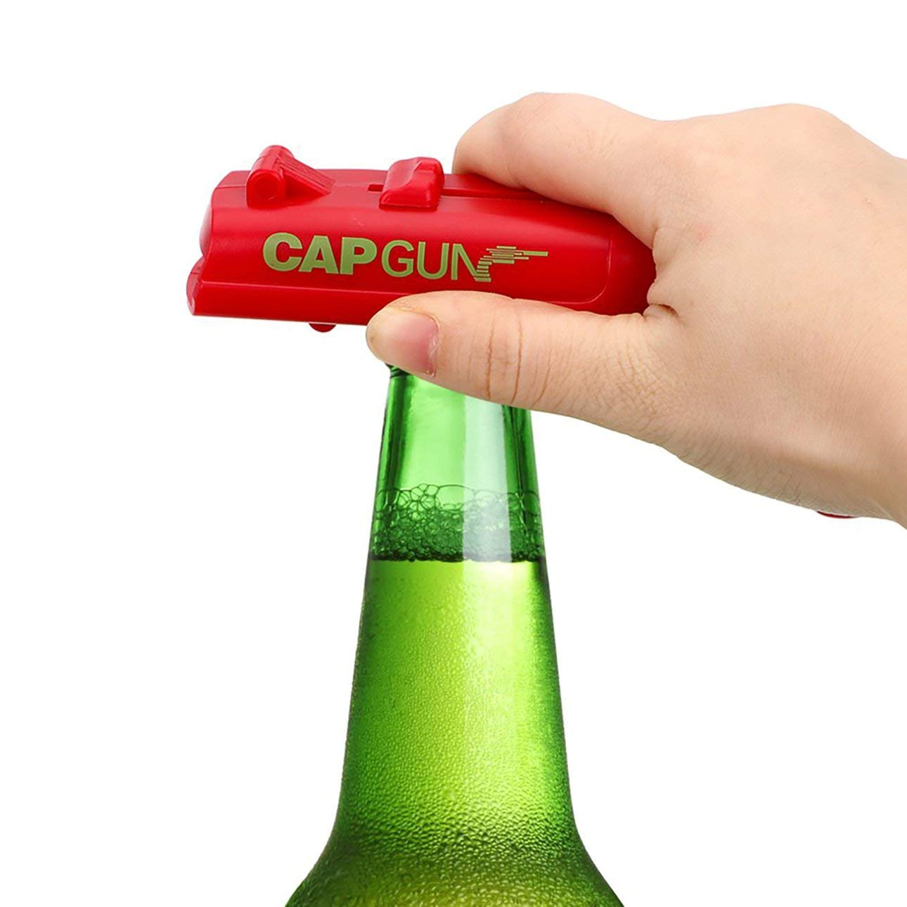 Abrebotellas Lanzador de Pistola de pl/ástico Tirador Abrelatas de Cerveza Recicla f/ácilmente Tapas para Beber en Fiestas Abrebotellas Pudincoco Forma de Pistola