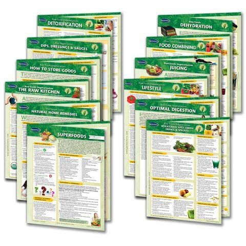 Raw Food and Living Food Vegan Guides - 12 Chart set - Vegan Quick Reference Guides by Permacharts