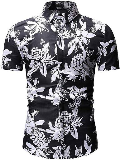 STORTO men Floral Dress Shirt Slim Fit Casual Paisley Printed Shirt Short Sleeve Button Down Shirts