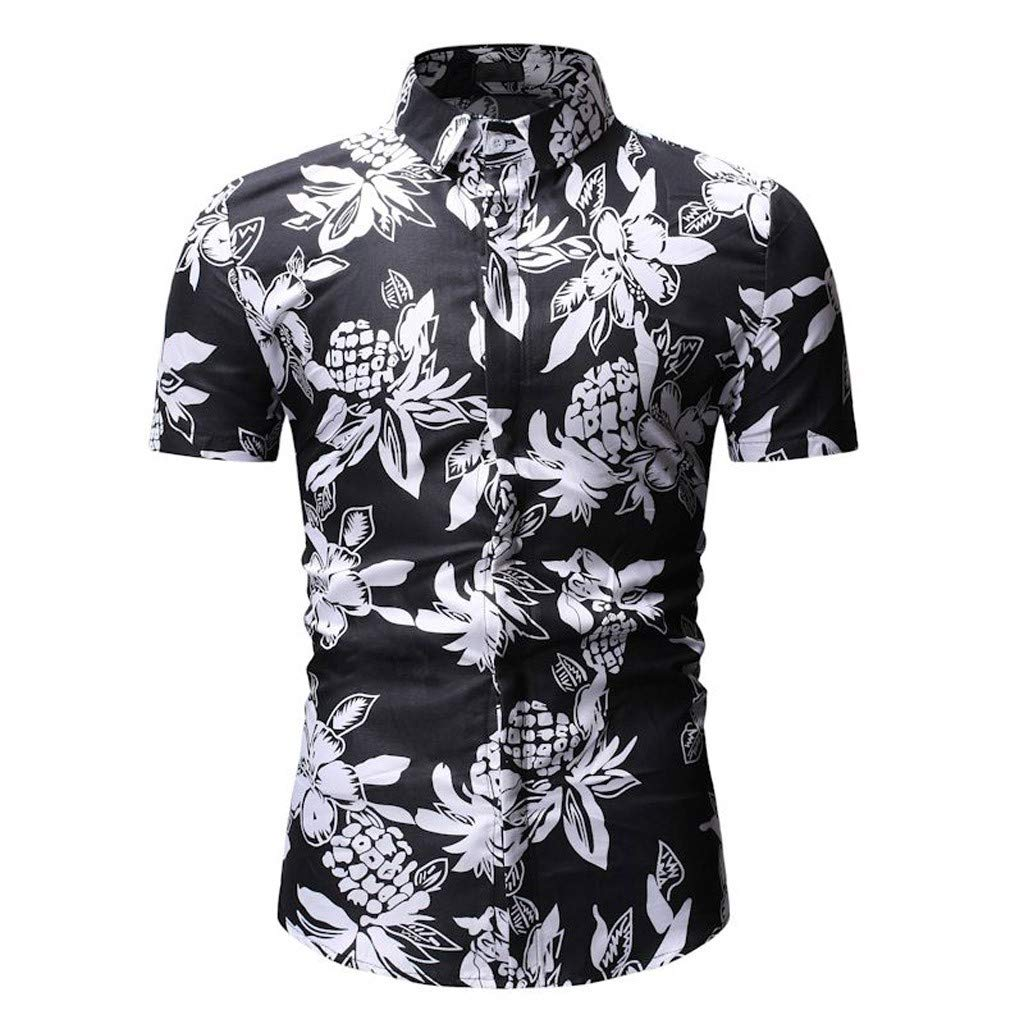 iLXHD Mens Personality Summer Print Shirt Top Shirt Button Shirt Short Sleeve T-Shirt
