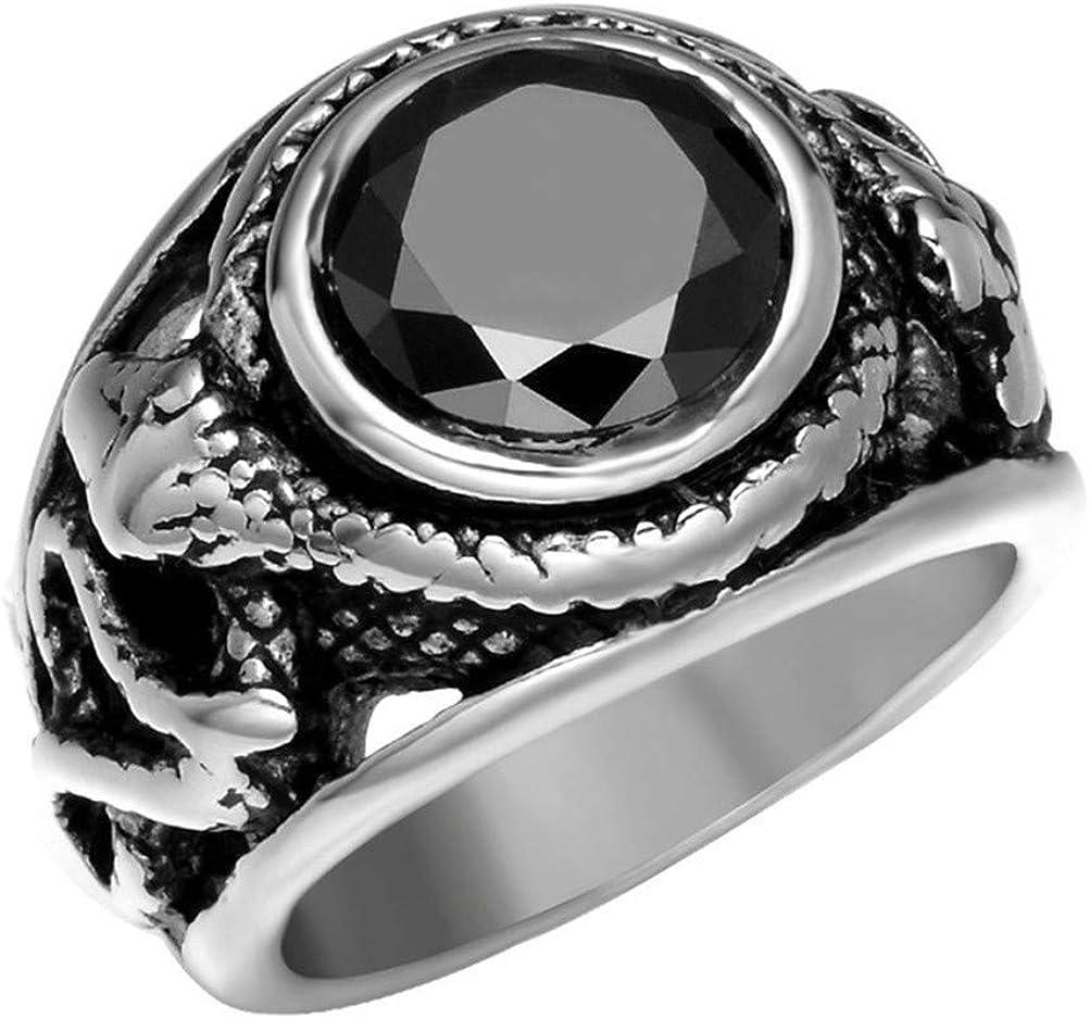 OAKKY Retro Incrustado Piedra Preciosa Gótico Motorista Serpiente Anillo Hombre Acero Inoxidable