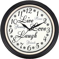 WESTCLOX 32032 12 Round Live Love Laugh Message Clock