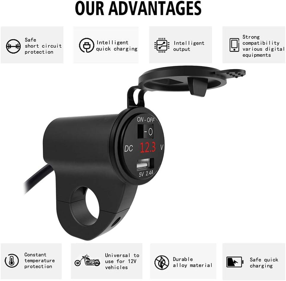 Aluminiumlegierung Dual USB Ladebuchse Mit LED Voltmeter Motorrad,Schwarz Boot Unabh/ängiger Schalter F/ür Marine Ur HQCC Motorrad USB Ladeger/ät