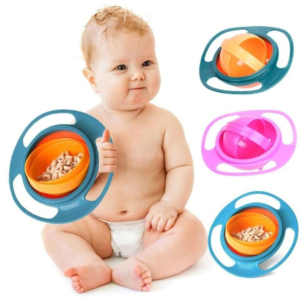 Baby Feeding Bowl Toddler 360 Rotation No Spill Gyro Bowl Kid Training Tableware Red Kloius