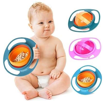 Portable 360 Rotation Baby Kids Toddler Training Feeding Bowls No Spill Gyro Bowls
