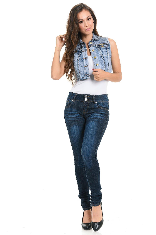 M.Michel Women's Denim Vest - Style 575 - Light Blue - Size Small