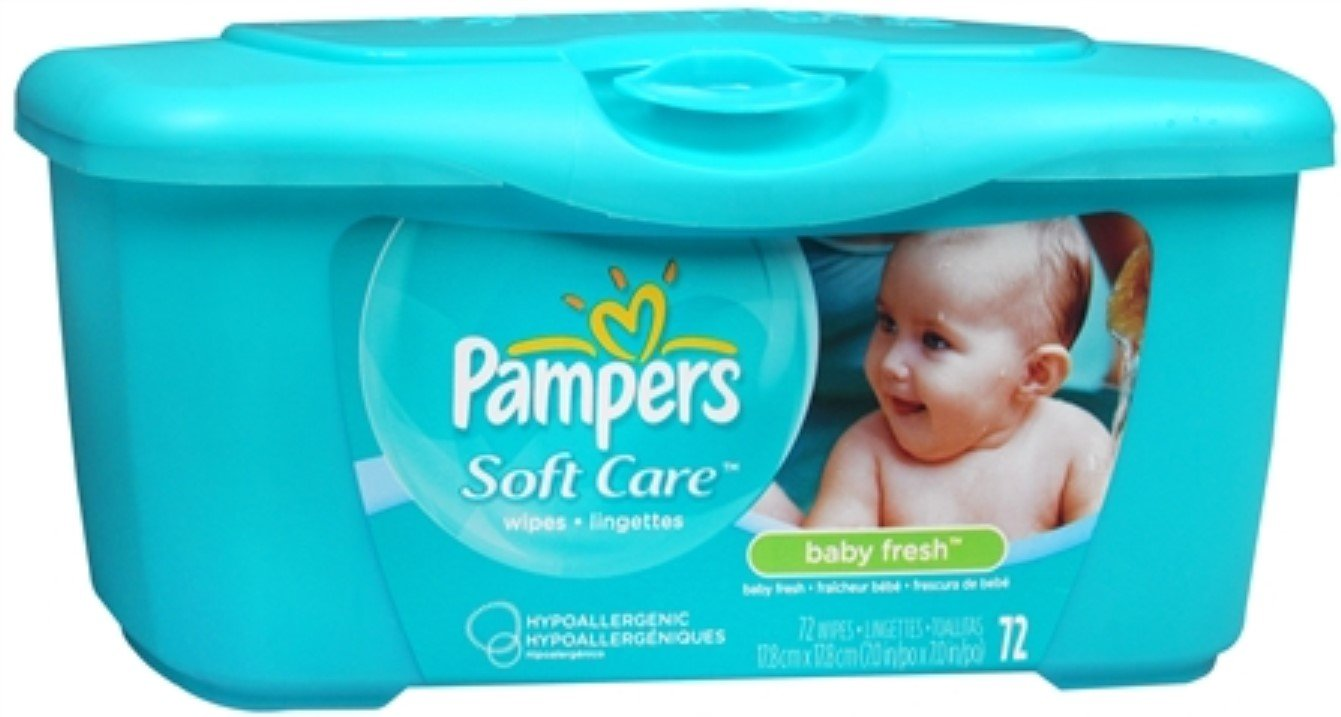 Pampers Baby Fresh Wipes Tub 72 ea ( Pack of 2)