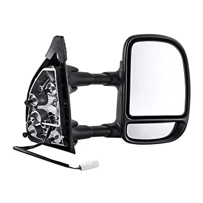 Passenger Side Towing Mirror for Ford Super Duty F-250, F-350 (1999 2000 2001 2002 2003) Textured Non-Heated Power Adjustment Folding Telescopic Right Door Rear View Replacement FO1321196: Automotive